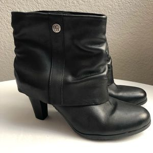 Size 8.5 BCBG Black Leather Ankle Boots